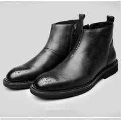 Man Comfortable Shoes Male Genuine Leather Men's Cowboy Western Martin Chelsea Ankle Boots black 40