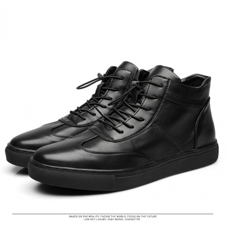 Men Winter Boots Casual Winter Genuine Leather Boots For Men Casual Male Fashion Ankle Boots black 40