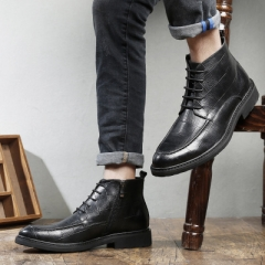 Genuine Leather Men Shoes Autumn Winter Men Boots 100% Cow leather Men Casual Boots black 40