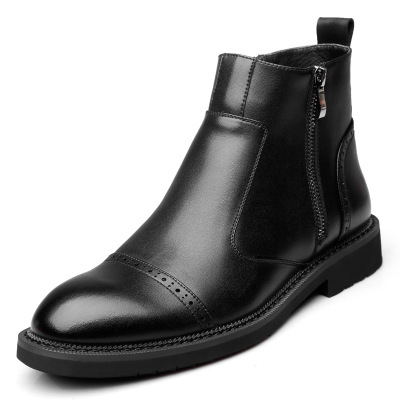 Fashion Genuine Leather Ankle Boots Men Chelsea Boots Zip High Quality Men's Winter Shoes black 40