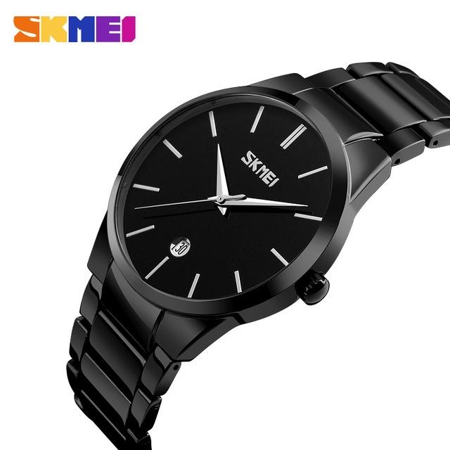 SKMEI Men Quartz Watch Waterproof Calendar Sport Watches Alloy Straps Luxury Wristwatches black one size