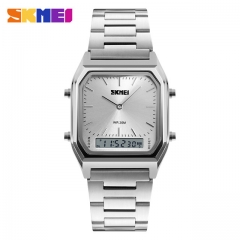 SKMEI Men Fashion Casual Quartz Wristwatches Digital Dual Time Sports Watches silver one size