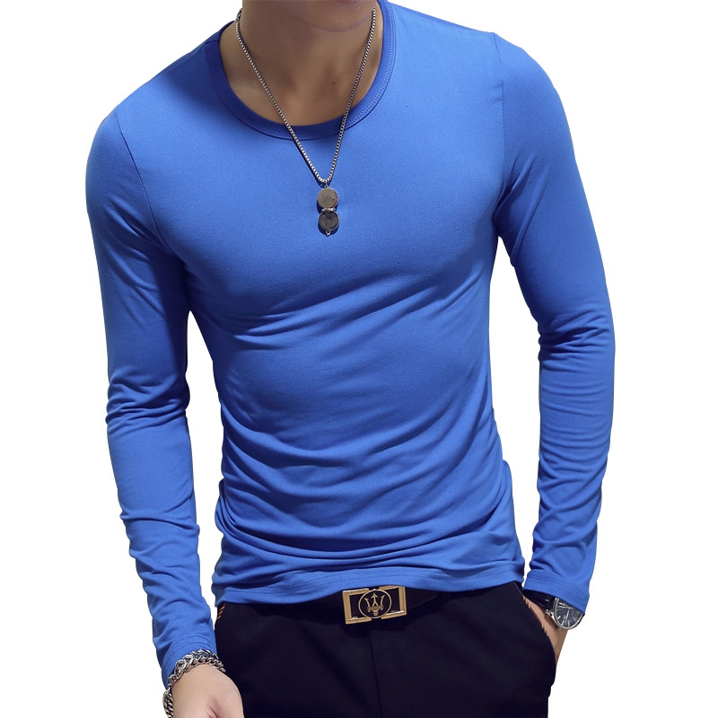 New Spring Fashion Slim Fit Long Sleeve T Shirt Men Trend Casual