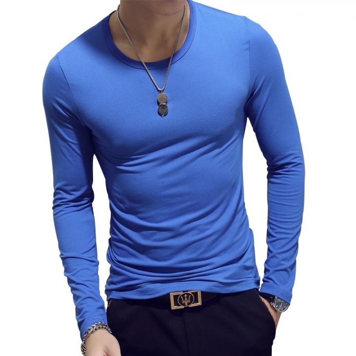 New Spring Fashion Slim Fit Long Sleeve T Shirt Men Trend Casual Mens T-Shirt Korean T Shirts light blue xxxl cotton