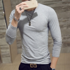 New Spring Fashion Slim Fit Long Sleeve T Shirt Men Trend Casual Mens T-Shirt Korean T Shirts gray collar xxl cotton