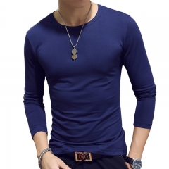 New Spring Fashion Slim Fit Long Sleeve T Shirt Men Trend Casual Mens T-Shirt Korean T Shirts deep blue xxl cotton