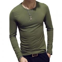 New Spring Fashion Slim Fit Long Sleeve T Shirt Men Trend Casual Mens T-Shirt Korean T Shirts green collar xxxl cotton