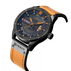 CURREN 8301 Top Brand Luxury watch men date display Leather creative Quartz Wrist Watches brown one size