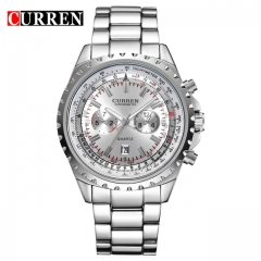 CURREN watches men quartz watch  masculino luxury military wristwatches fashion casual water  8053 white one size