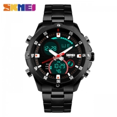 SKMEI Men Quartz Watch Waterproof LED Digital Alarm Wristwatches Stainless Steel Strap black one size