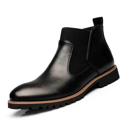 Men Chelsea Boots Genuine leather Pointed Toe Slip On Martin boots  Ankle Boots Male shoes black 40
