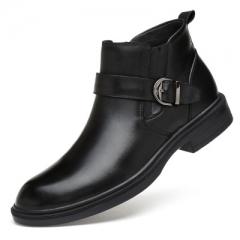 Full Grain leather Men Boots Warm Fur Men Winter Shoes Handmade Snow Boots black 40