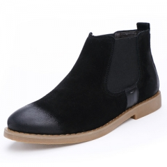 Men's Chelsea Boots Genuine Leather Handmade Men Boots    Motorcycle boot black 40