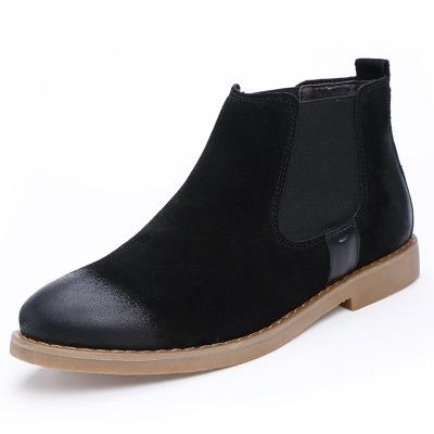 Men's Chelsea Boots Genuine Leather Handmade Men Boots    Motorcycle boot black 40
