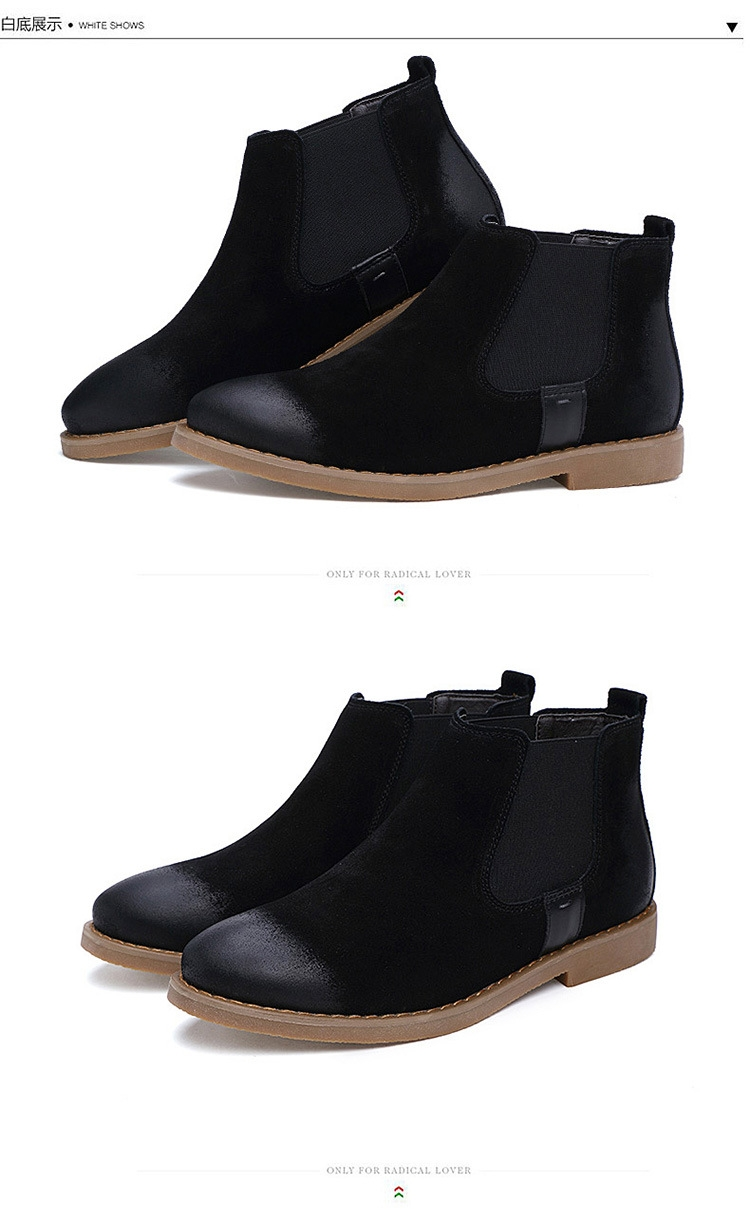 2406ade778d Men's Chelsea Boots Genuine Leather Handmade Men Boots Motorcycle boot  black 40