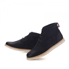Genuine Leather Men Ankle Boots Fashion Waterproof Mens shoes Lace Up New Short Boot black 40