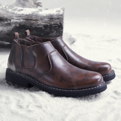NEW Men Ankle Boots Genuine Leather Chelsea Man Boots Bullock Boots brown 40