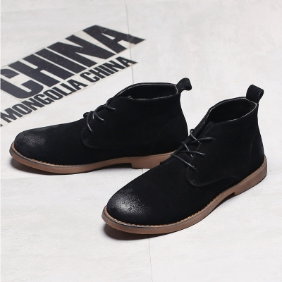 Genuine Leather Men Ankle Boots Breathable Men Leather Boots  Shoes Outdoor Casual Men Winter Shoes black 40