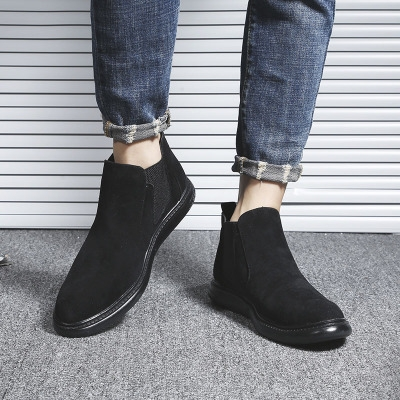 Men fashion top leather boots English low boots Jobon boots black 40