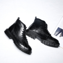 New Fashion Men Boots Motorcycle Handmade Leather Business Boots Casual British  Boots black 40