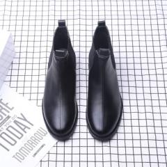 Men Boots Vintage Chelsea Boots  British Style Leather Fashion Men Ankle Boots black 40