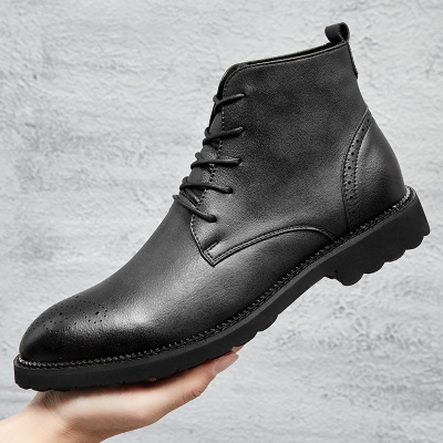 Men Low Ankle Trim Flat Ankle  Boots Casual Martin Shoes Men Fashion Male Boots black 40