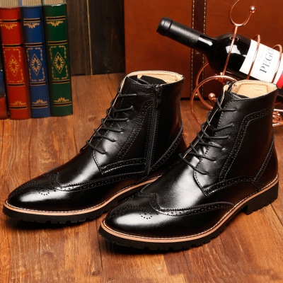 Genuine Leather Men Ankle Boots High Top Zip Lace Up Dress Shoes Man Basic Boots black 40