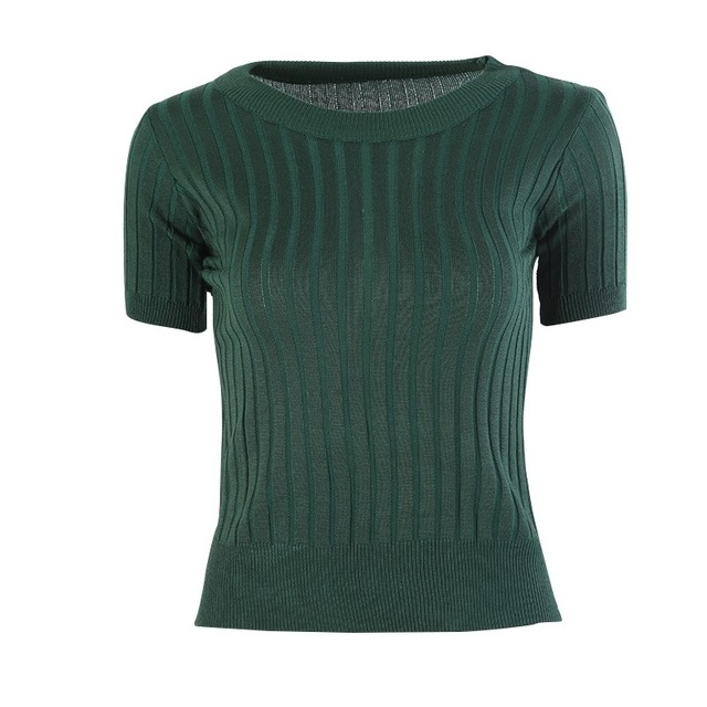 MUKATU t-shirt tops knitted slim pullover Women Sweater Half Sleeve Thin Tight Fit Collar Clothing 1 one  size