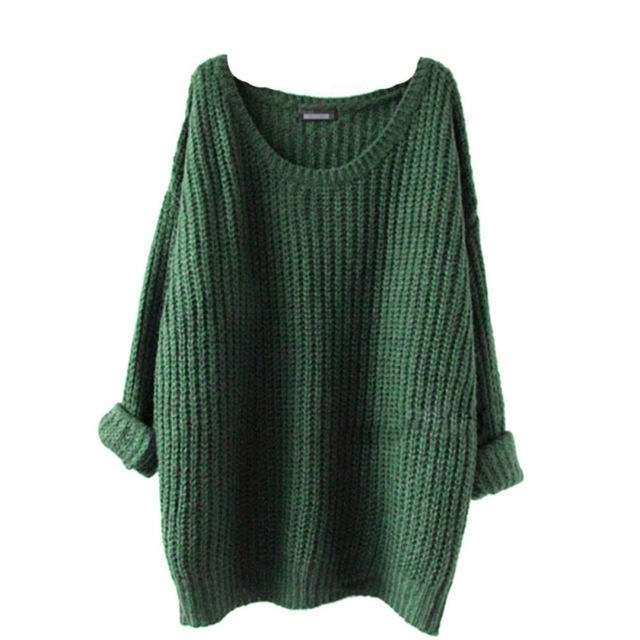 MUKATU Autumn Winter Sweater Women O-Neck Loose Oversized Pullovers Solid Jumper Knitted 1 one  size
