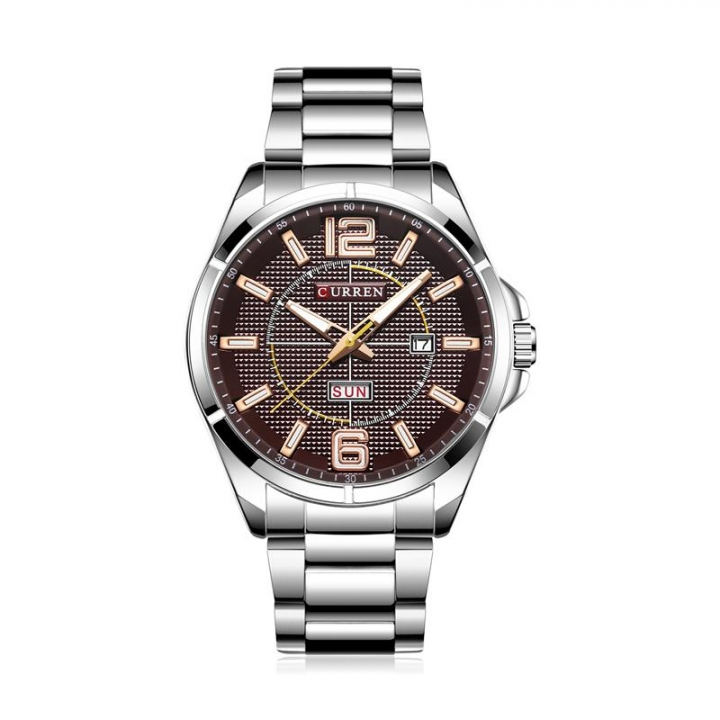 CURREN 8271 Brand Men Business Quartz Watches Men's Stainless Steel Band Auto Date Wristwatch yellow one size