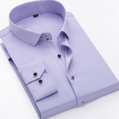 mens work shirts soft Long sleeve square collar regular men dress shirts blue Pure color male tops PURPLE 175/96A