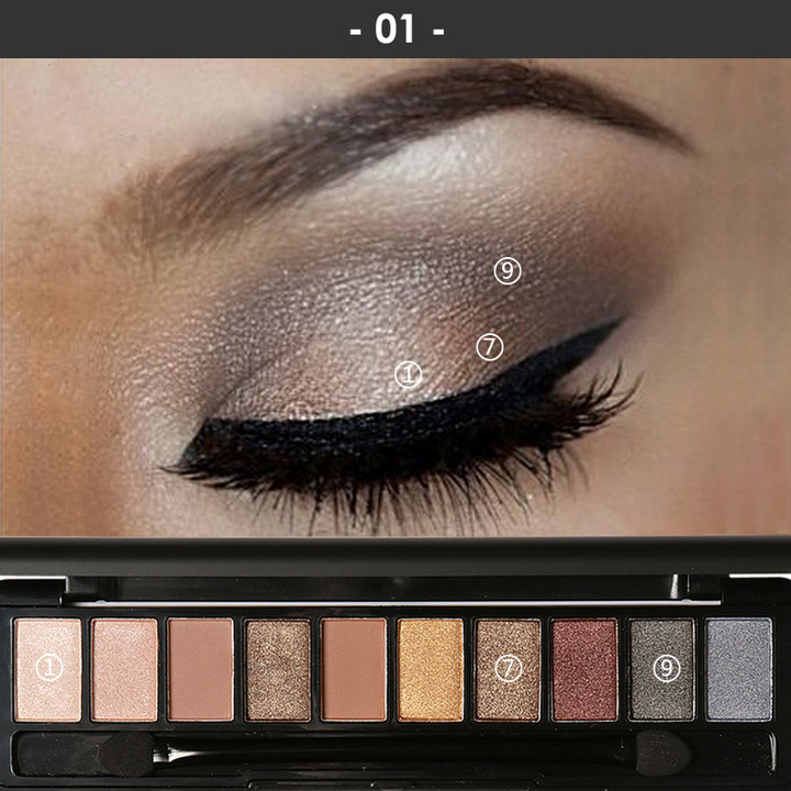 Pro 10 Colors Women Waterproof Makeup Eyeshadow Palette Eyebrow Shadow Powder Cosmetic with Brush 1