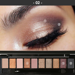 Pro 10 Colors Women Waterproof Makeup Eyeshadow Palette Eyebrow Shadow Powder Cosmetic with Brush 2