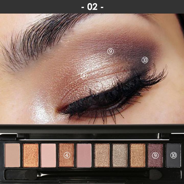 Pro 10 Colors Women Waterproof Makeup Eyeshadow Palette Eyebrow Shadow Powder Cosmetic with Brush 2