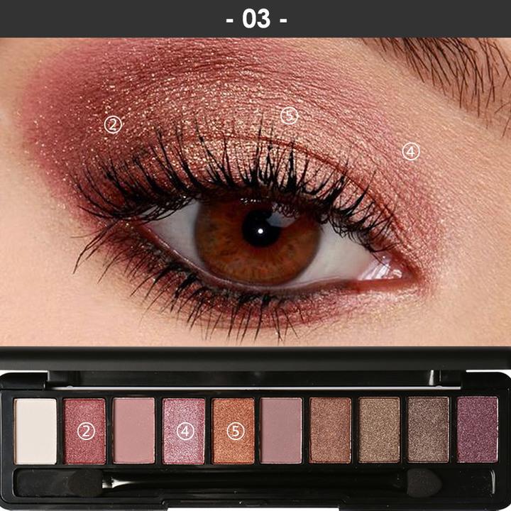 Pro 10 Colors Women Waterproof Makeup Eyeshadow Palette Eyebrow Shadow Powder Cosmetic with Brush 3