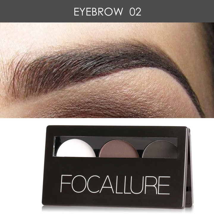 3 Colors Eye brow Powder Palette Waterproof Smudge Proof With Mirror and Eyebrow Brushes Inside 2