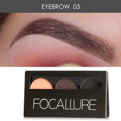 3 Colors Eye brow Powder Palette Waterproof Smudge Proof With Mirror and Eyebrow Brushes Inside 3