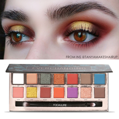 FOCALLURE Palette Matte Glitter Shimmer Tropical Vacation eyes shadow Palette with Brush E