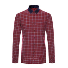 Thick Shirt Luxury Warm Cotton Shirt Oxford Britsh Style Business Official Good Quality Heavy red L
