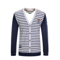 Cotton Men Long Sleeve Luxury Cardigan Mens V-Neck Sweaters Knitting Casual Clothing 2 in 1 Gray L (175/92)
