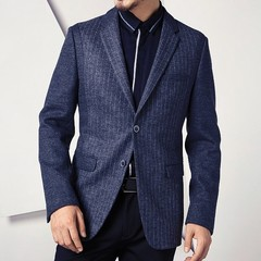 Thick Casual Men Blazer Cotton High Quality Luxury Fashion Brand Men Suit Coat Winter Wedding Groom stripe m