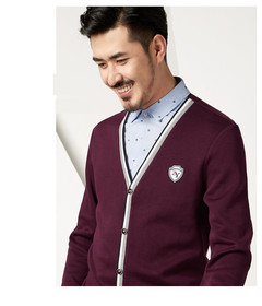 Cotton Men Long Sleeve Luxury Cardigan Mens V-Neck Sweaters Knitting Casual Clothing 2 in 1 Violet s (165/84 )