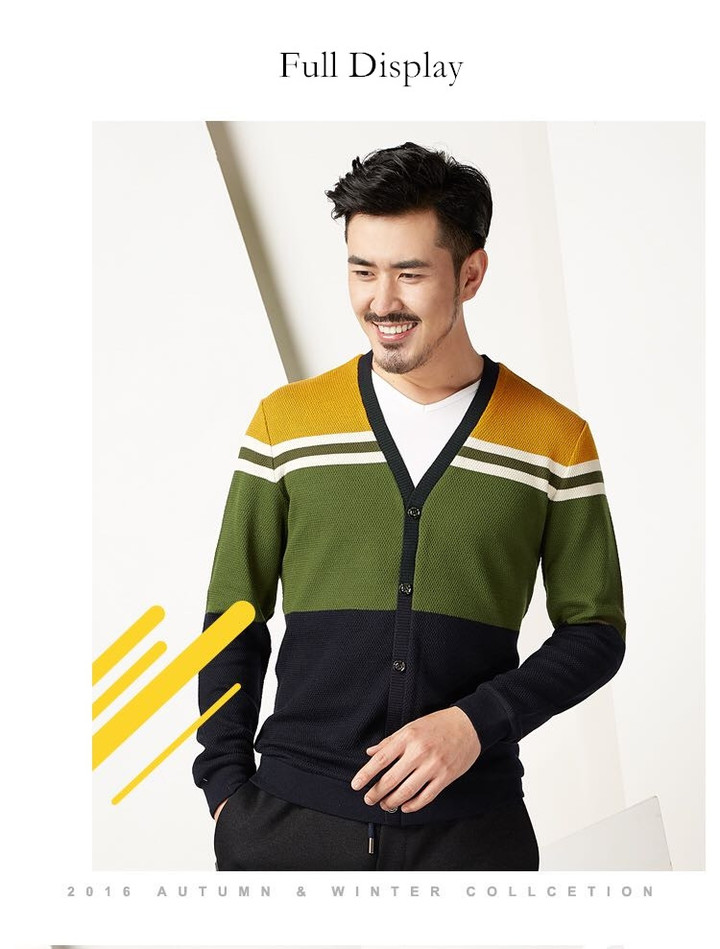 Cotton Men Long Sleeve Luxury Cardigan Mens V-Neck Sweaters Knitting Casual Clothing 2 in 1 Yellow m (170/88)