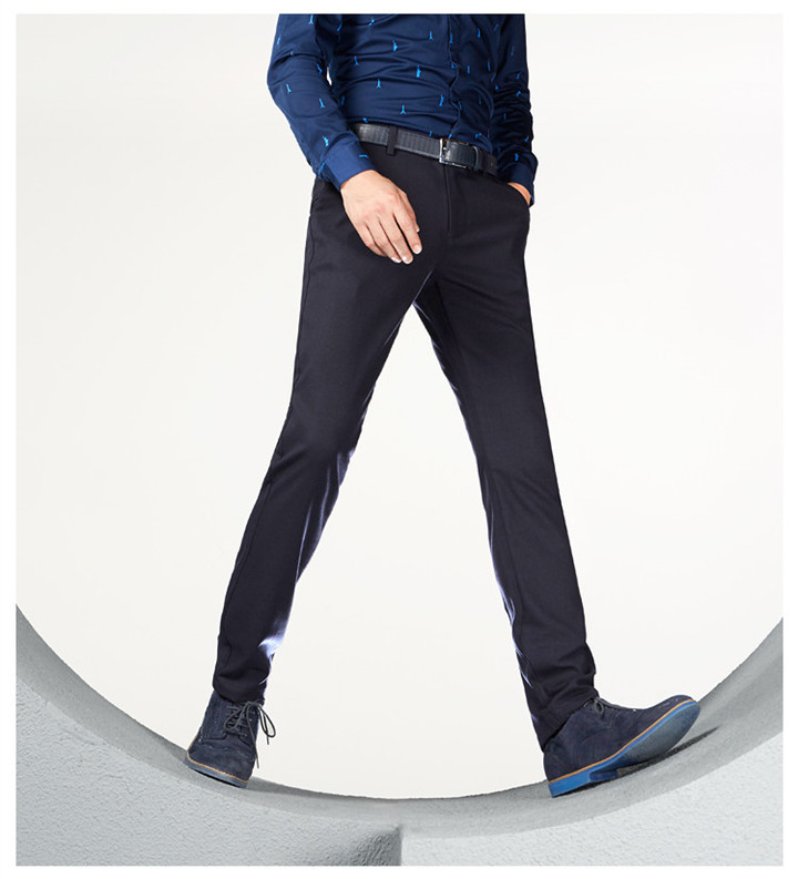 Official Classic Casual Pants Fashion Elasticity Business Black Trousers Male Clothes Work Wedding black 175/84a (33)
