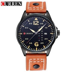CURREN Luxury Brand Original Date Leather Casual Watch Men Sports Quartz Military WristWatch Male black orange one size