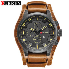 Curren 8225 Army Military Quartz Mens Watches Top Brand Luxury Leather Men Watch Casual Sport brown one size