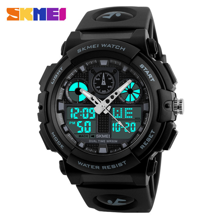Men Sports Watches Digital Double Time Chronograph Watch 50M Watwrproof Week Display Wristwatches black one size