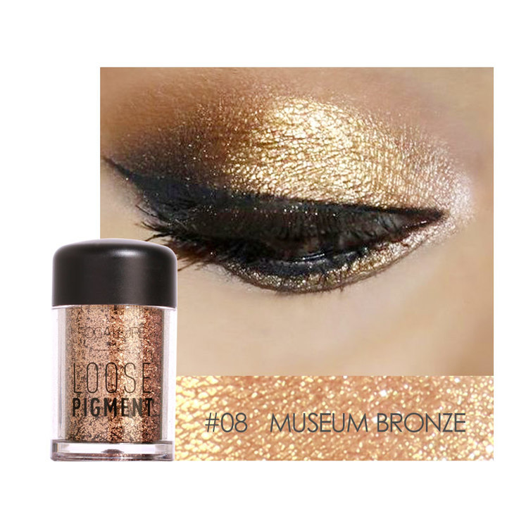 FOCALLURE 18 Colors Glitter Eye Shadow Cosmetic Makeup Diamond Lips Loose Makeup Eyes Pigment Powder 8