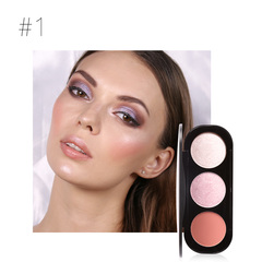 3 Colors Blush&Highlighter Palette Face Matte Highlighter Powder Illuminated Blush Powder 1