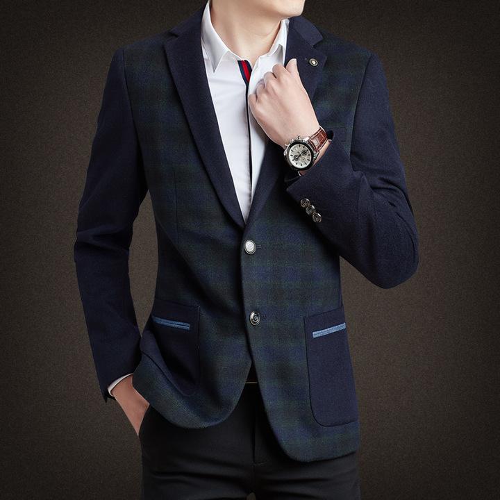 Thick Casual Men Blazer Cotton High Quality Luxury Fashion Brand Men Suit Coat Winter Wedding Groom 1 S